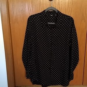 Long sleeve black polka dots blouse